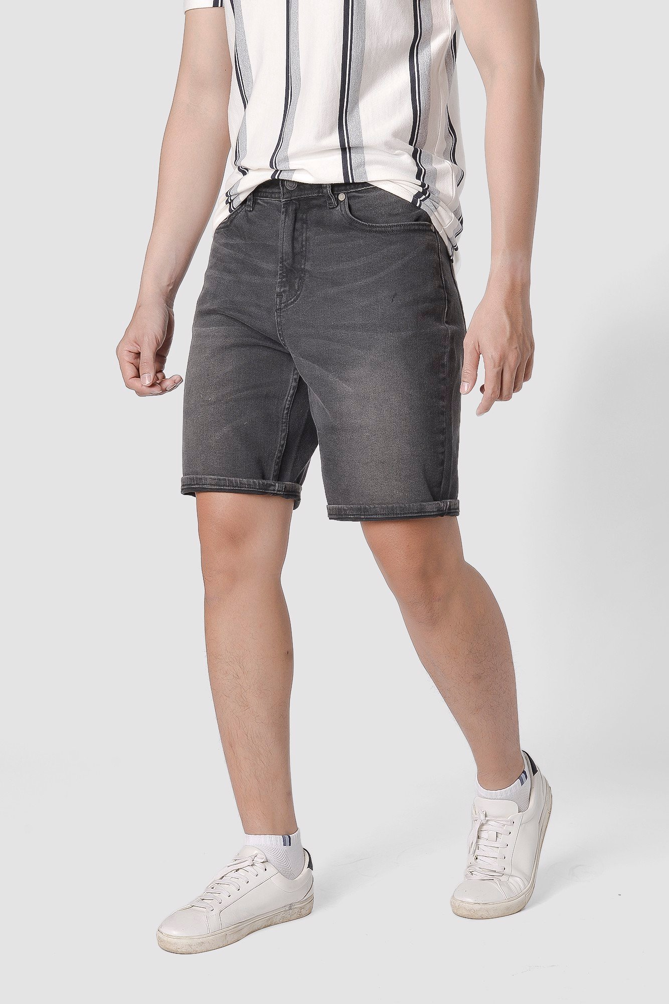 Quần short jeans nam form straight - 10F20DPS007