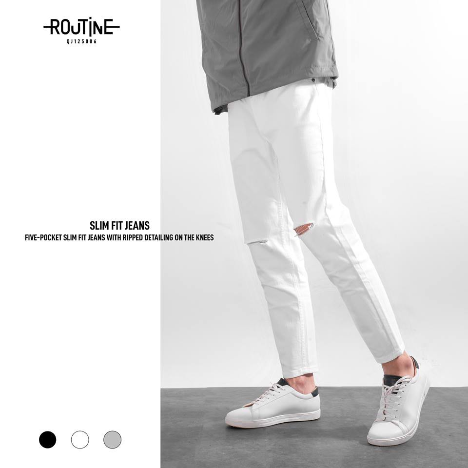 Quần Jean Nam co giãn form Slim Cropped - QJ125