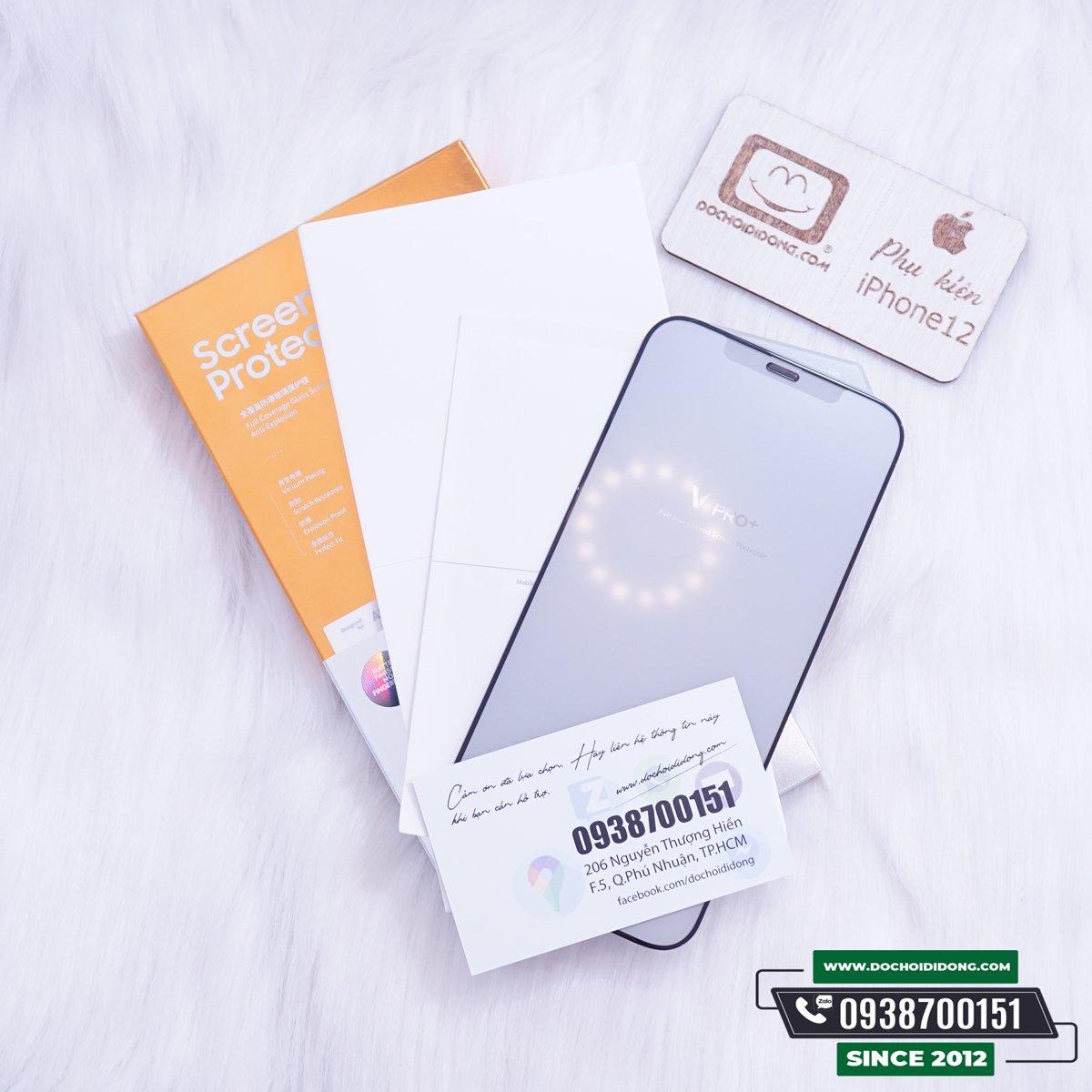 Miếng Dán Cường Lực Nhám Chống Vân Tay IPhone 12 Pro Max Mini Các Đời Benks V Pro Full Màn Hình