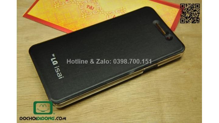 Bao da LG G2 Isai L22 sọc kim loại ốp trong