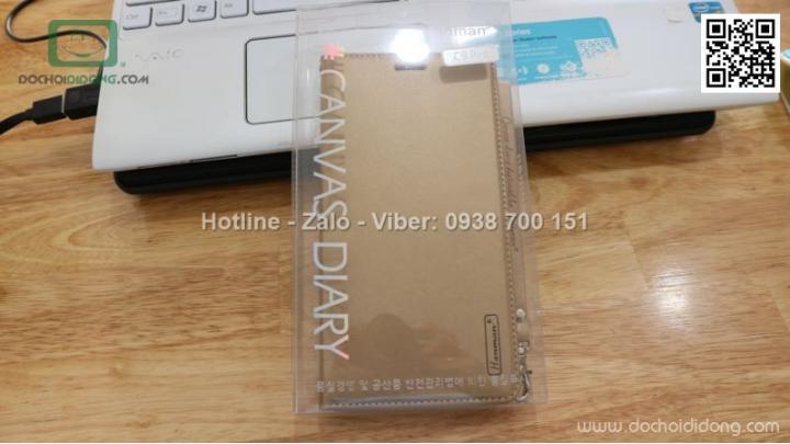 Bao da Samsung Galaxy C9 Pro Hanman dạng ví có nam châm