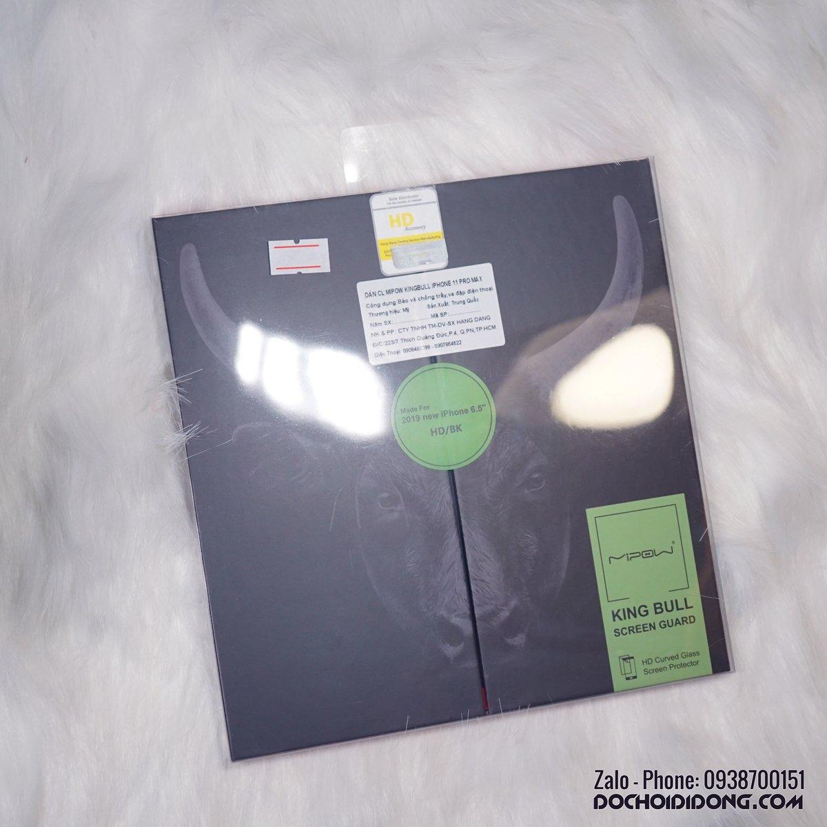 Dán cường lực iPhone 11 Pro Max Mipow King Bull HD dùng ốp chống sốc