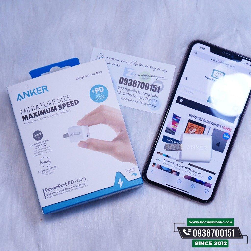 Sạc Nhanh Anker PowerPort PD Nano 20W cho IPhone 12 11 Pro Max X Xs Max 7 8 + Plus - A2634