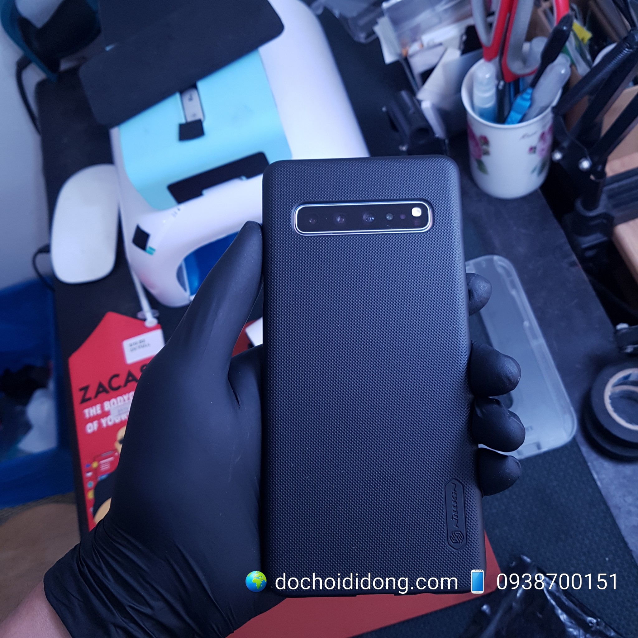 Ốp lưng Samsung S10 5G Nillkin vân sần tặng kèm giá đỡ