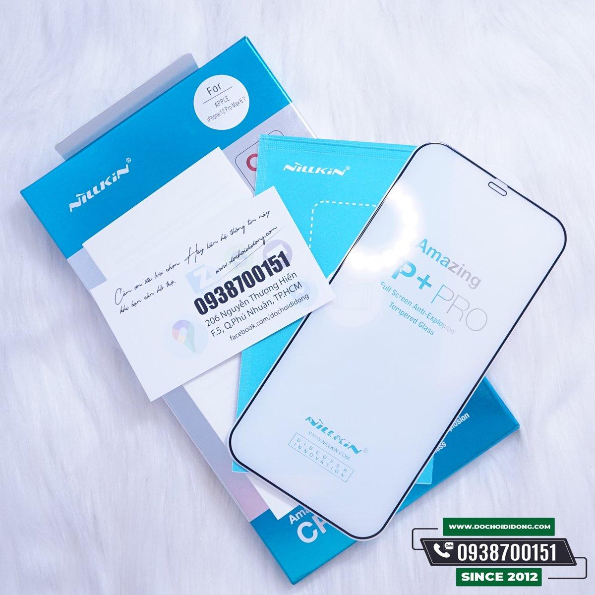 Miếng Dán Cường Lực IPhone 12 Các Đời Nillkin 3D CP+ Pro Full Màn Hình