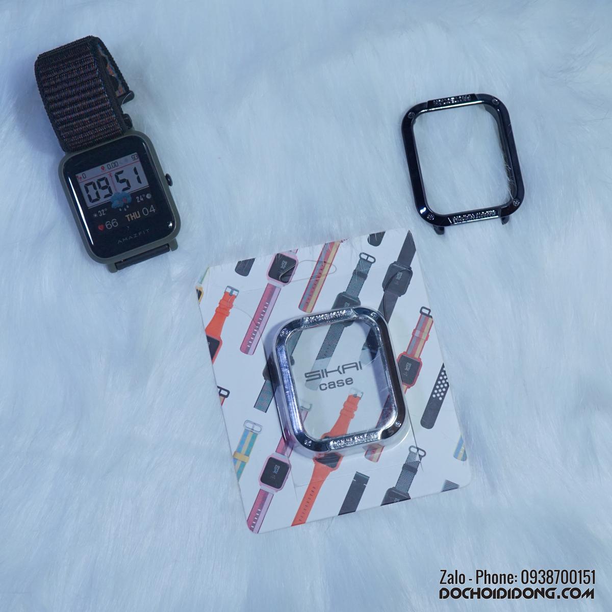 Ốp bảo vệ đồng hồ Amazfit Bip Sikai nhựa cứng sơn mạ kim loại