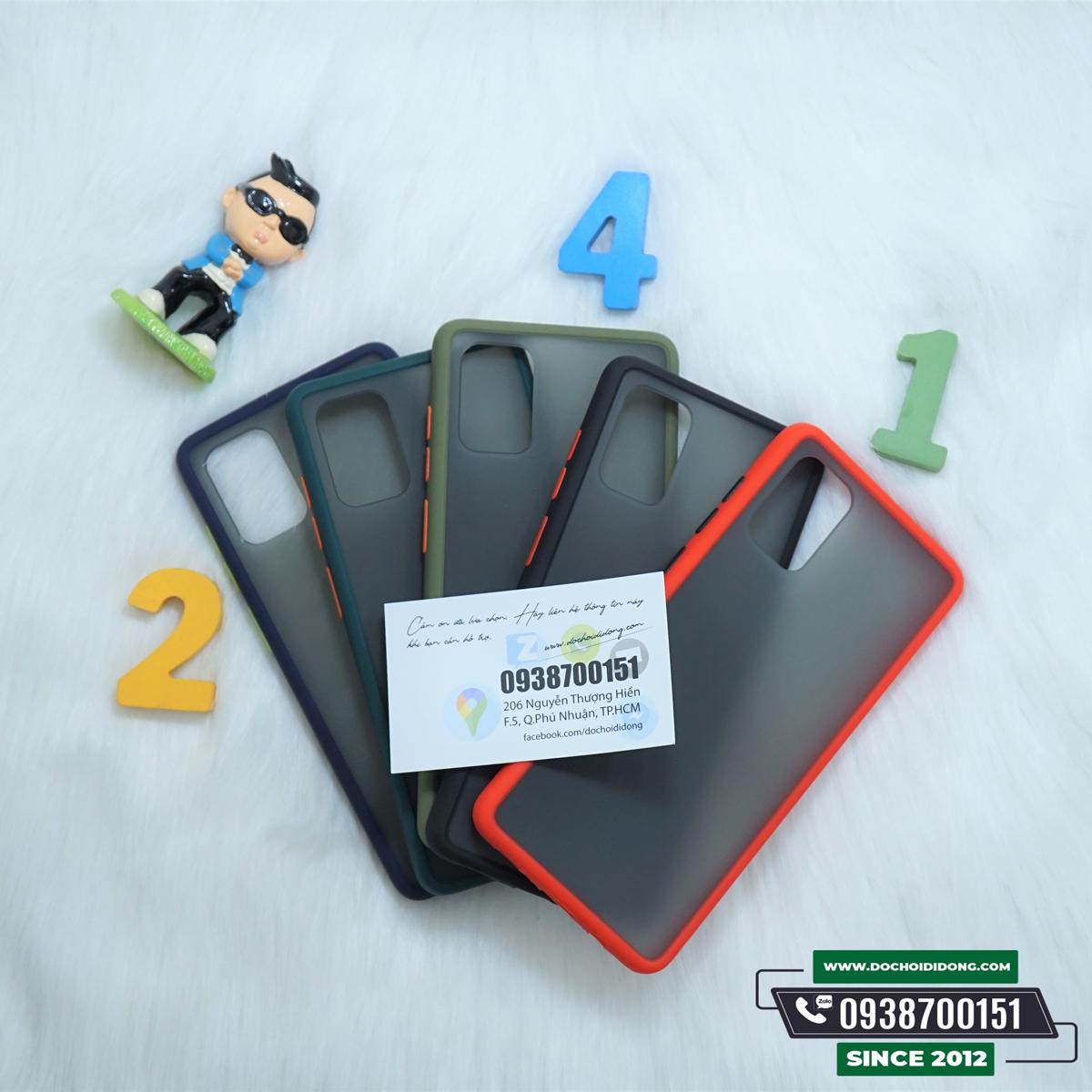 Ốp lưng Samsung A71 viền màu lưng nhám trong chống sốc