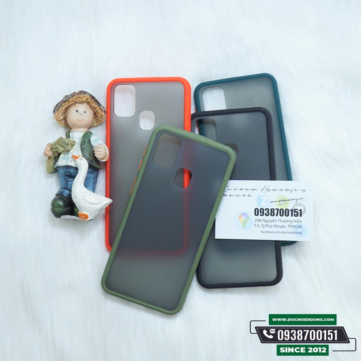 Ốp lưng Samsung M31 viền màu lưng nhám trong chống sốc