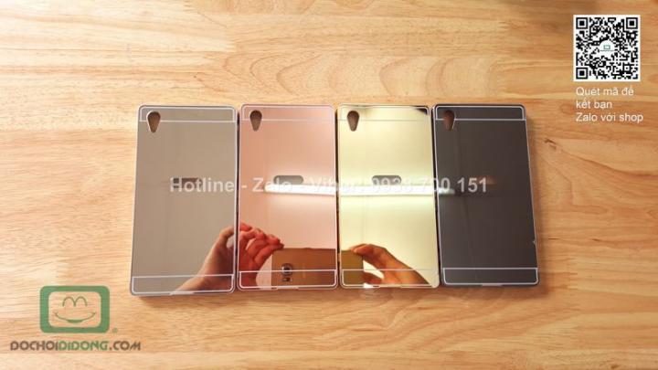 Ốp lưng Sony Xperia Z1 viền nhôm lưng tráng gương