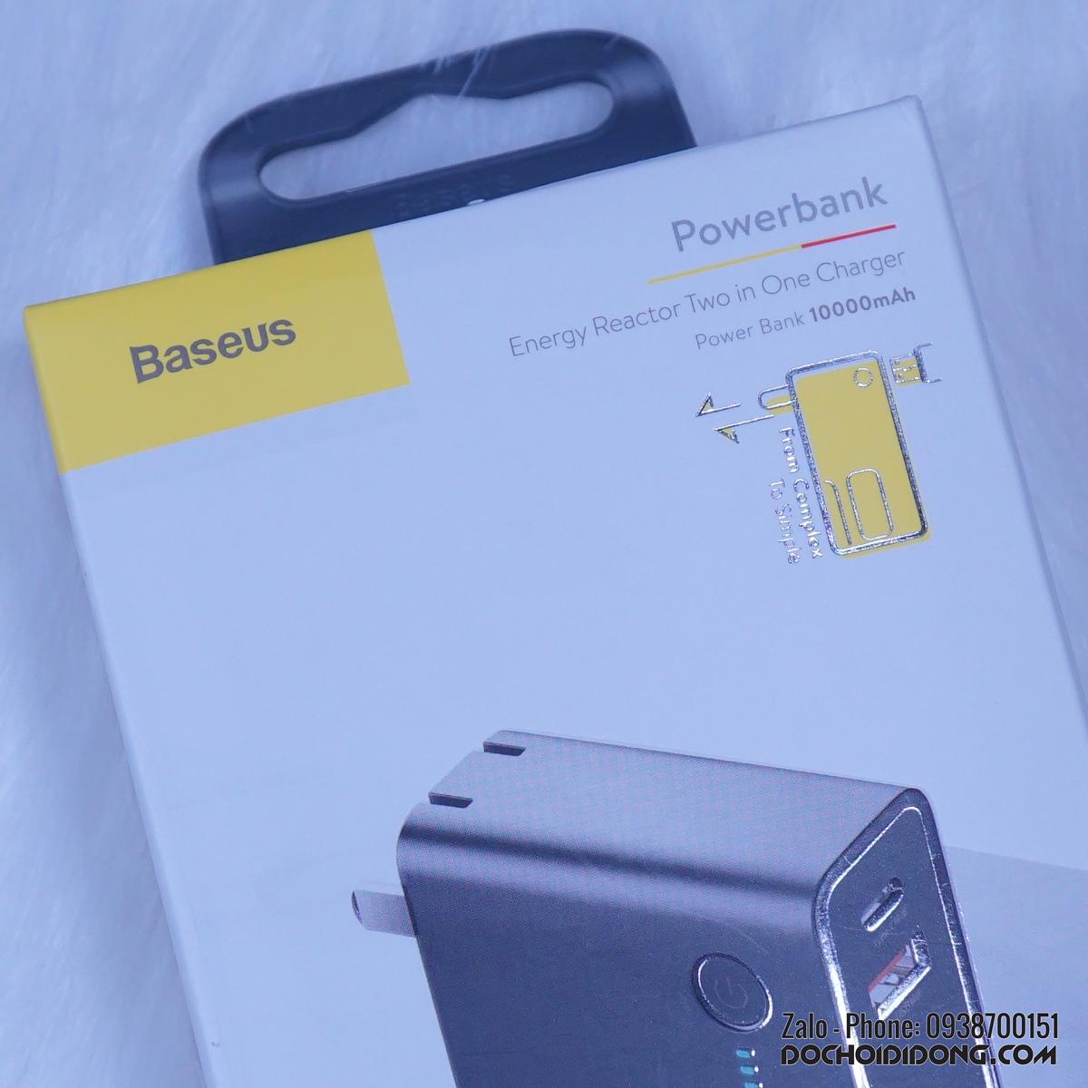Sạc dự phòng Baseus 18W PD 3.0 QC 3.0 tích hợp chân cắm AC