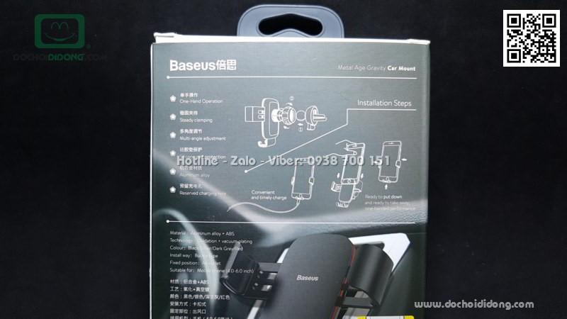 Giá đỡ điện thoại Baseus Metal Age Gravity chân cắm dành cho xe hơi