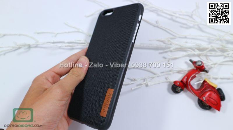 Ốp lưng iPhone 6 6s Plus dẻo vân vải bố