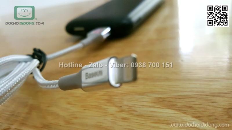 Cáp lightning iphone Baseus đầu bọc kim loại chống gãy có đèn