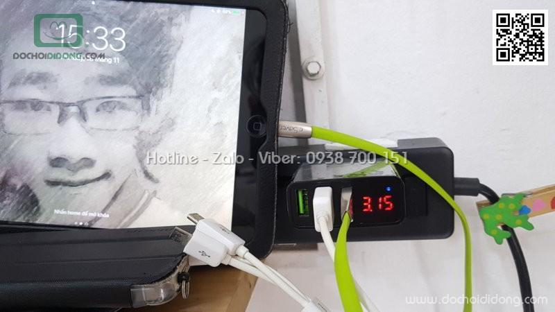 Cốc sạc Rock T14 3 cổng có đèn hiển thị thông số dòng điện