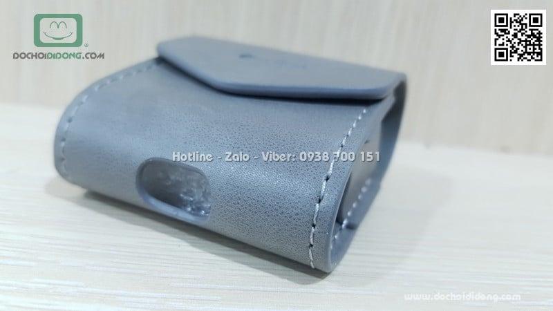 Túi da đeo AirPod Coteetci nắp nam châm có móc