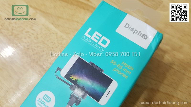 Gậy tự sướng kiêm sạc dự phòng Dispho 2200 mAh có đèn LED trước sau