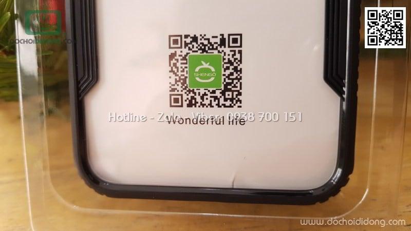 Ốp lưng iPhone X SHENGO lưng kính cường lực viền chống trượt