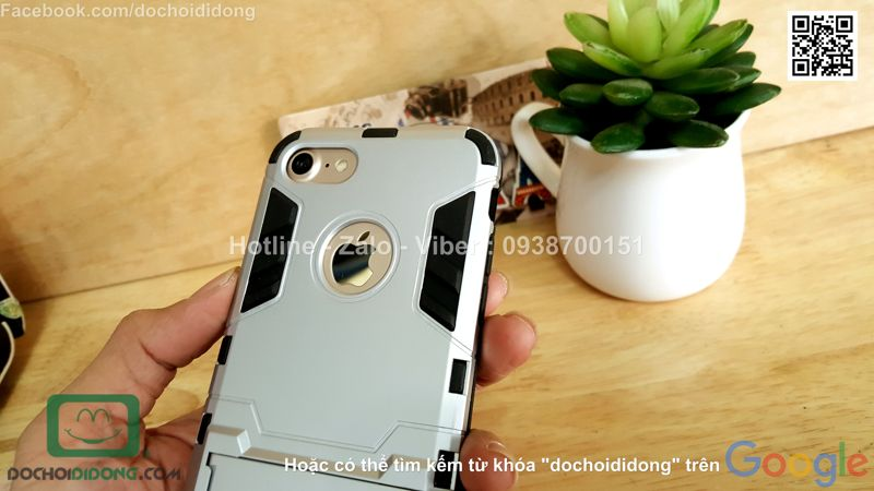 Ốp lưng iPhone 8 Iron Man chống sốc có chống lưng