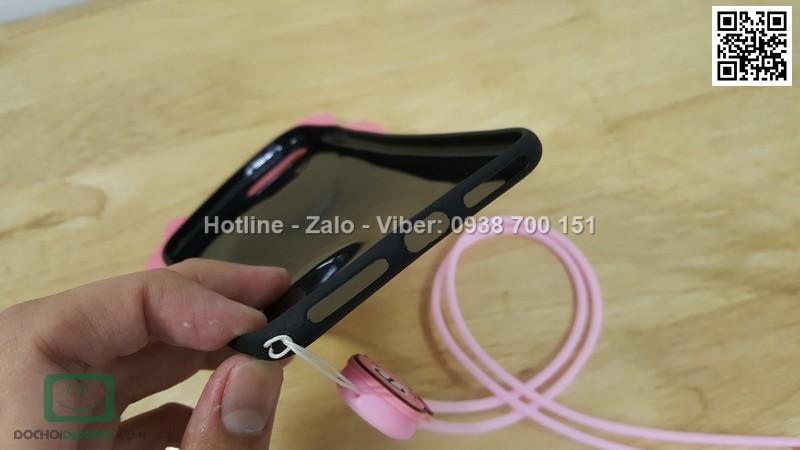 Ốp lưng iPhone 8 Plus dẻo hình thú có dây đeo