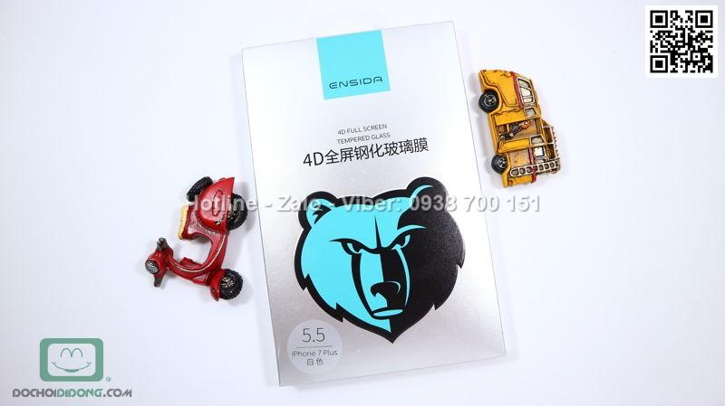 Miếng dán cường lực iPhone 8 Plus Ensida 4D full màn hình 9H