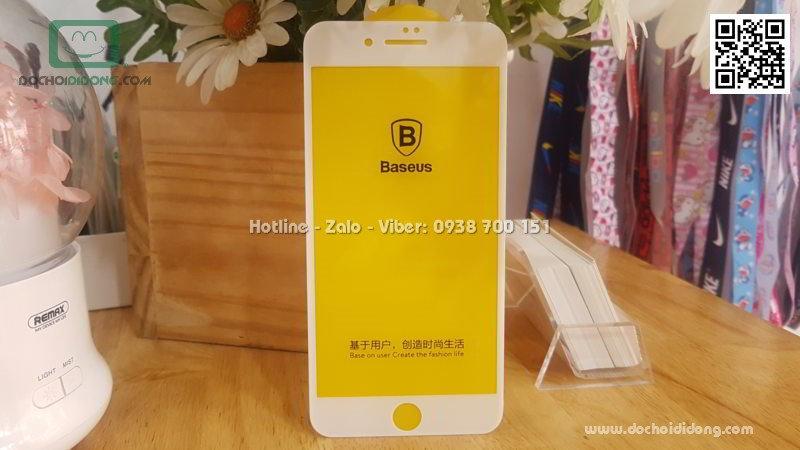 Miếng dán cường lực iPhone 7 Plus Baseus 3D viền kính full màn hình 9H