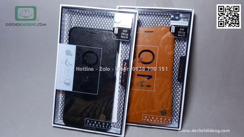 Bao da Huawei Nova 3e Nillkin Qin giả da cao cấp