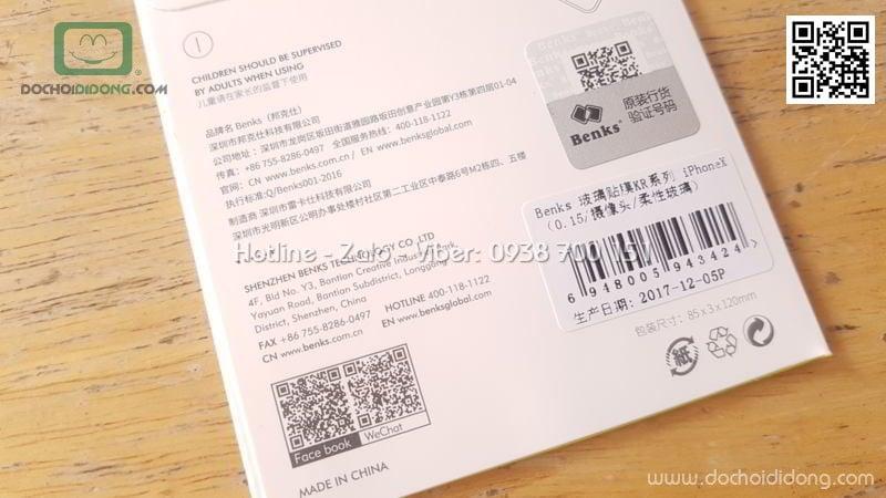 Miếng dán cường lực camera iPhone X Benks 9H 0.15mm