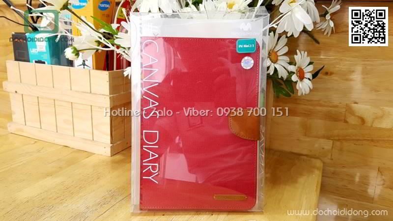 Bao da iPad Mini 1 2 3 Mercury Canvas Diary vân vải nhét card