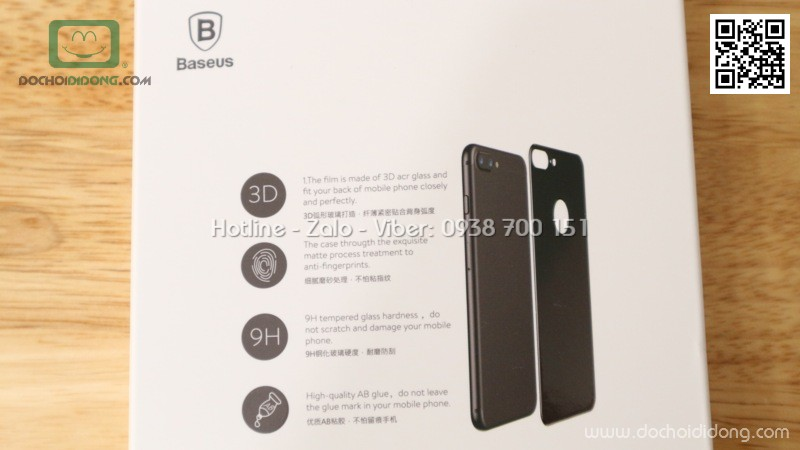 Miếng dán cường lực mặt lưng iPhone 7 Baseus 3D