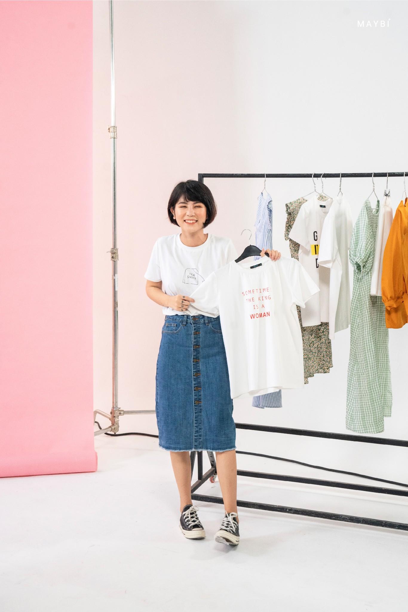 Áo thun trắng form medium-Tea shirt
