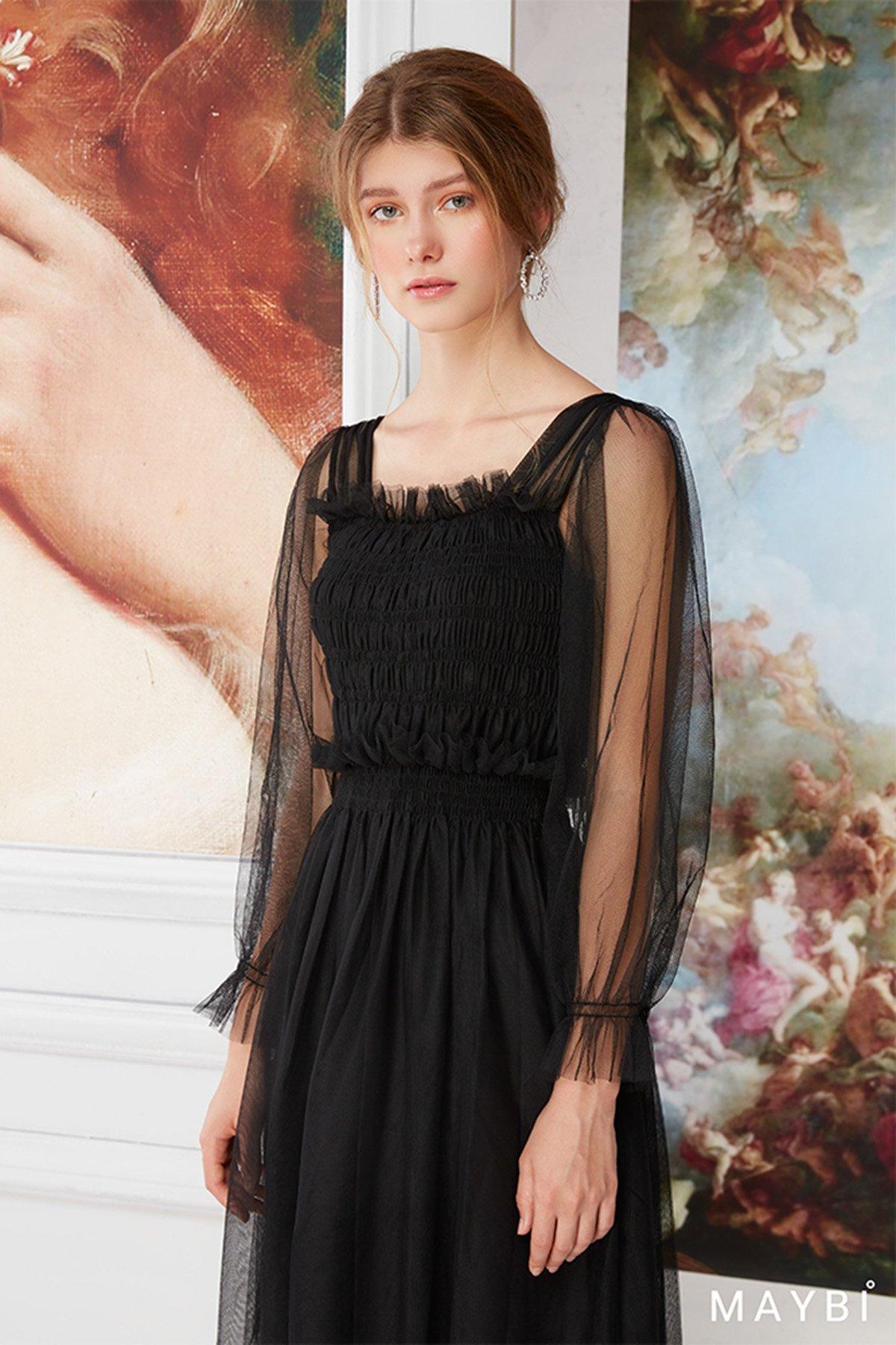 Đầm tulle đen