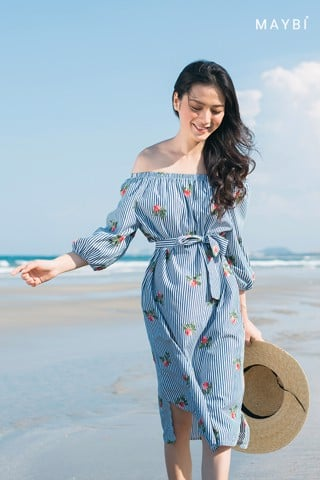 Đầm sọc trễ vai - Stripe Offshoulder Dress