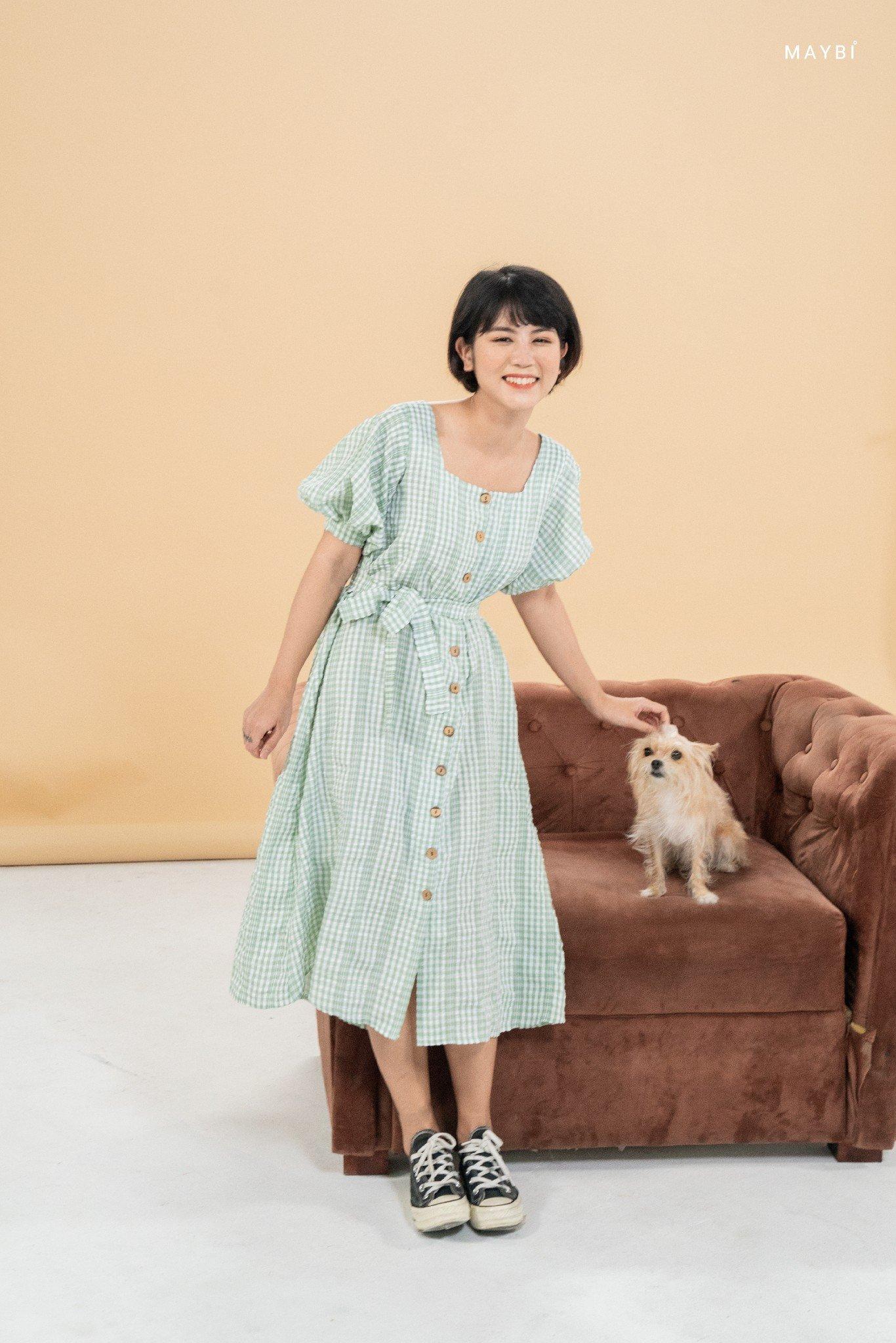 Đầm caro cổ vuông xanh lơ - Edeny Dress
