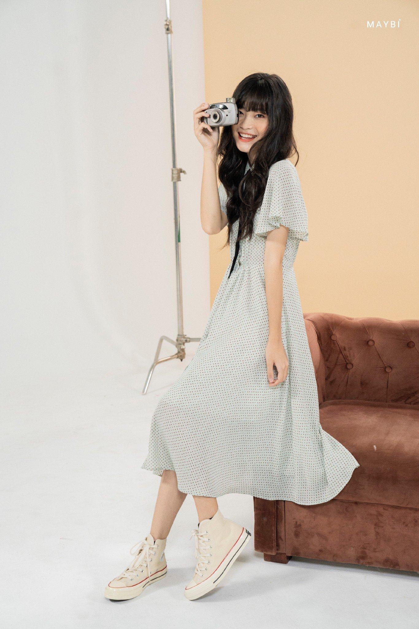 Đầm xanh sơ mi cánh tiên - Maybi Mint Dress