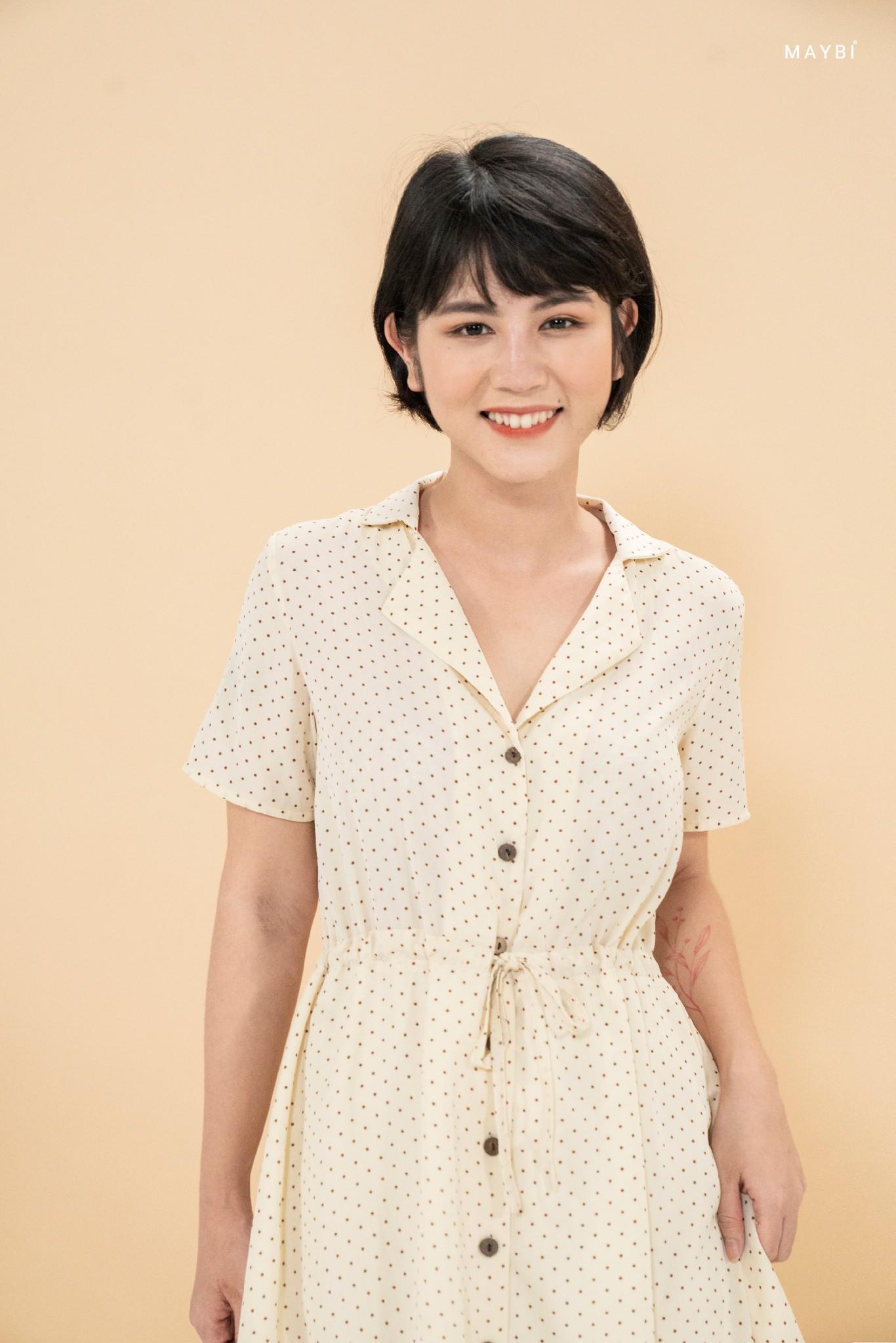 Đầm cổ danton chấm bi nâu - Pixie Polkadot Dress