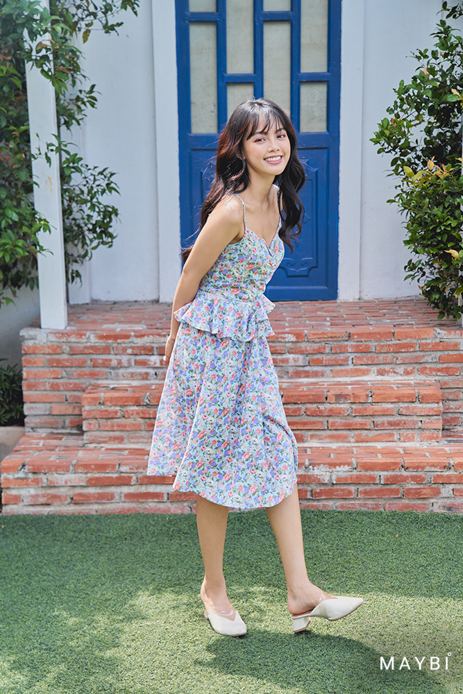 Đầm 2 dây bèo eo - Punchy Bloom Dress