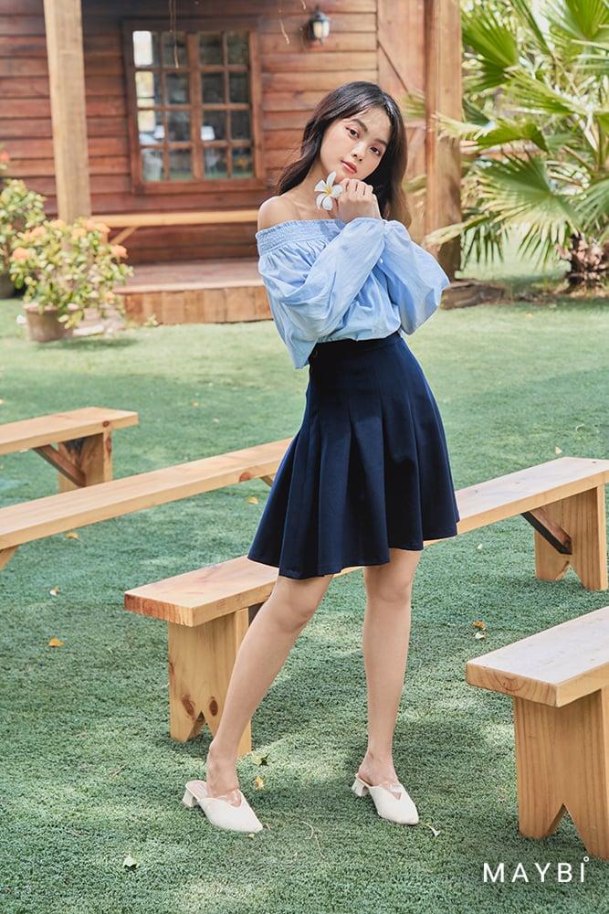 Chân váy xếp li xanh đen - Plumage Skirt