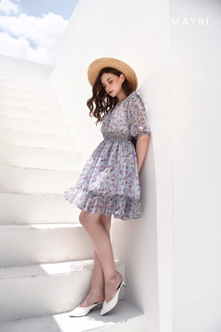 Đầm tím nhún eo - Plumy Dress