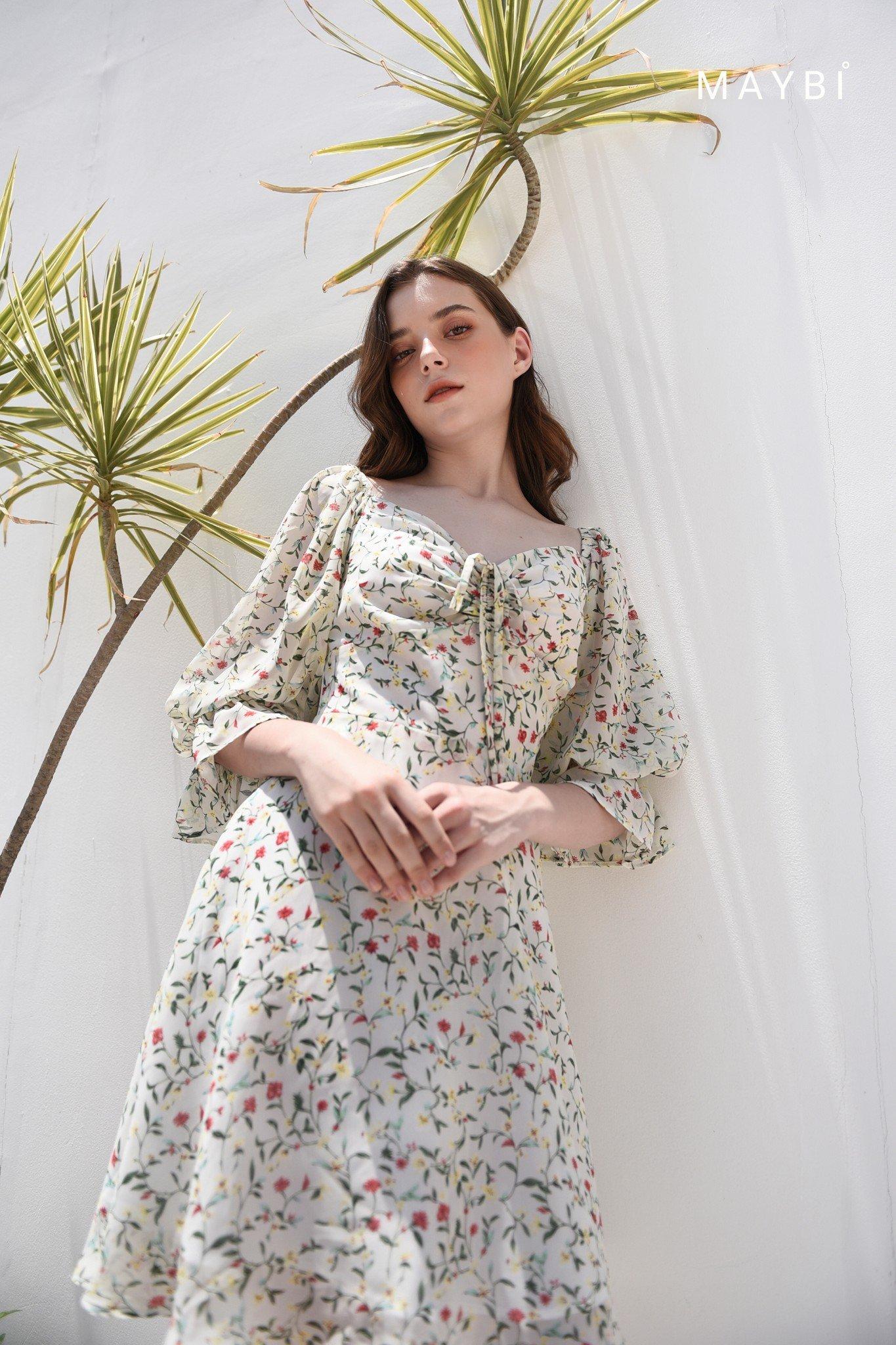 Đầm hoa trắng rút ngực - Praline Dress