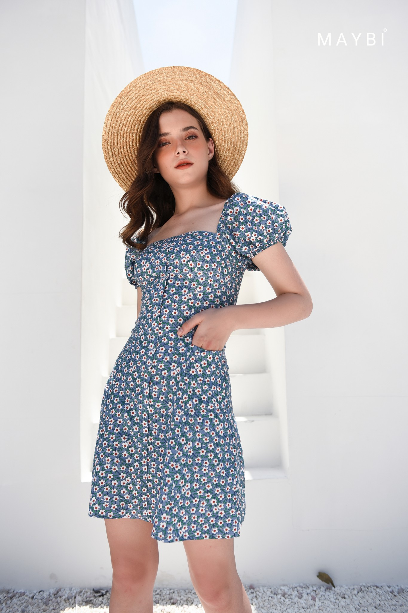 Đầm hoa nhí xanh - Tiny Blue Dress