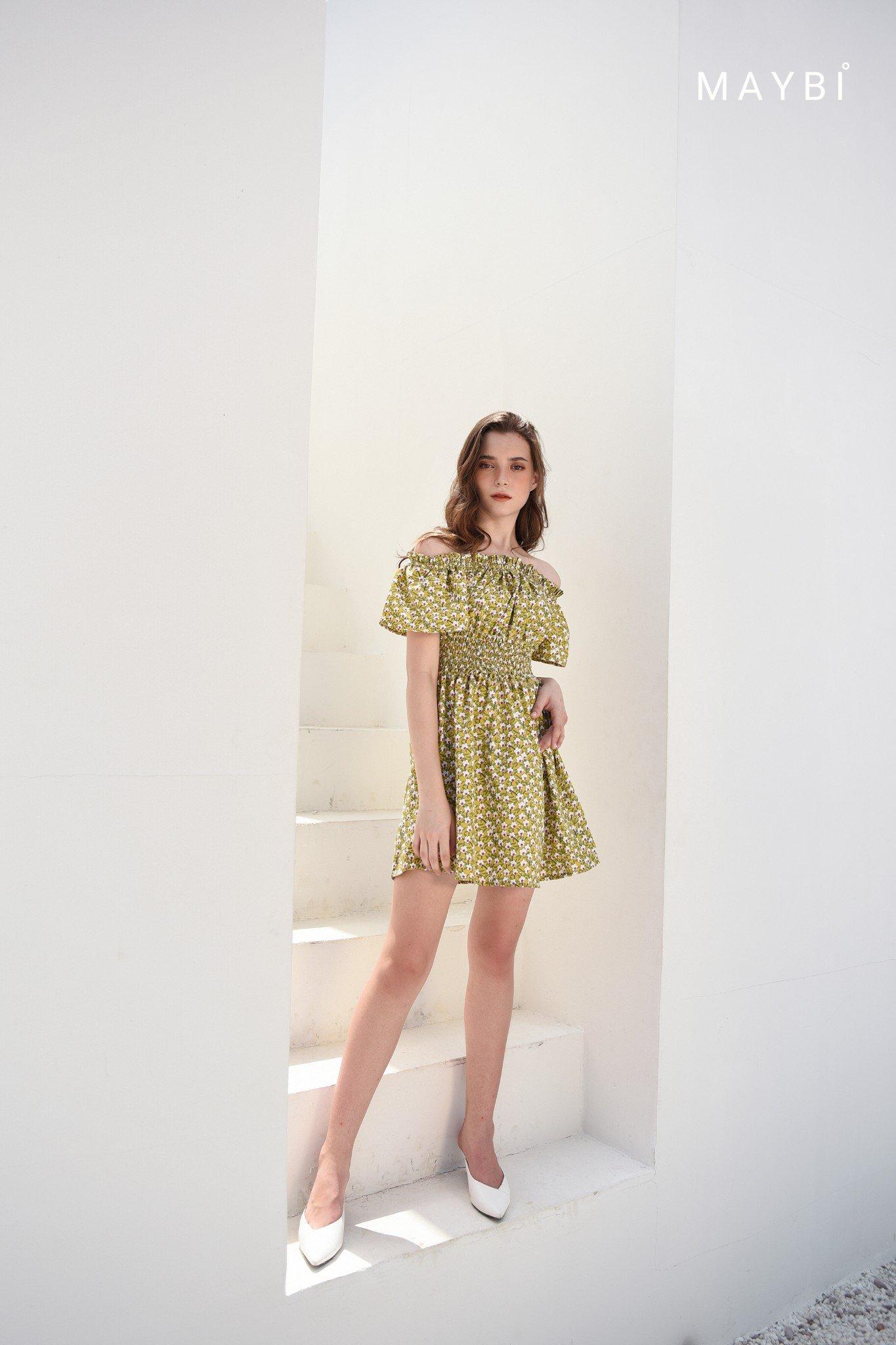 Đầm nhún eo vàng - Tuscany