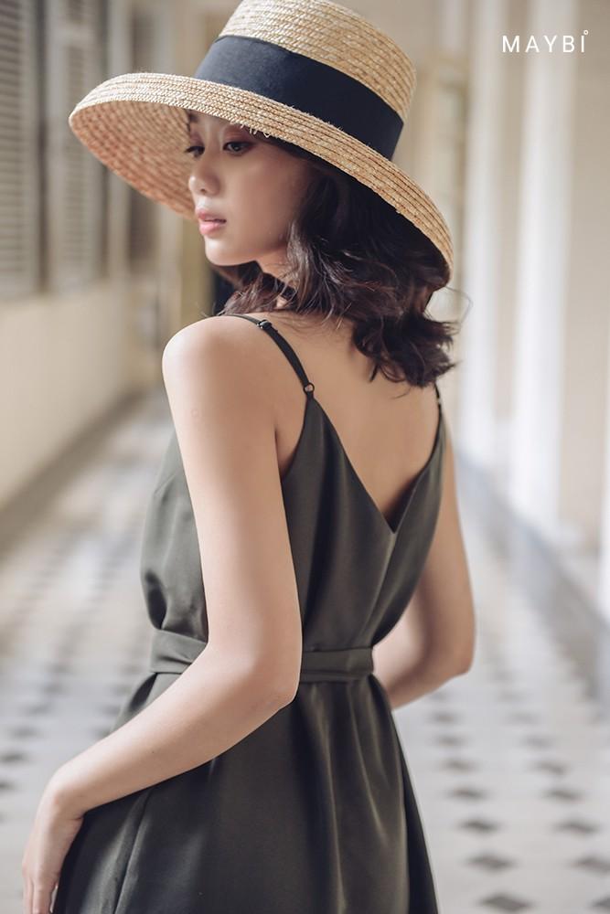 Thumbnail of Đầm hai dây xanh rêu - Olive Green Dress