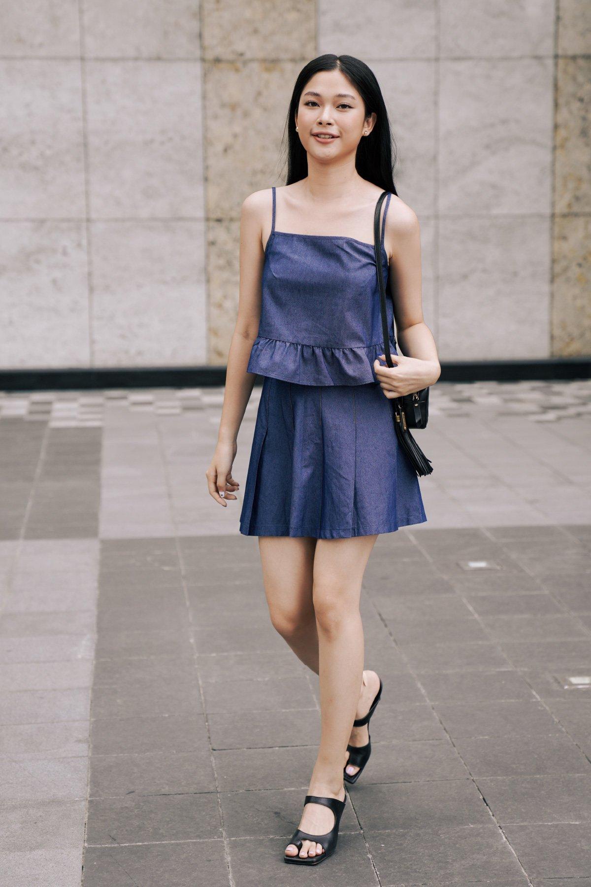 Chân váy xếp li Denim Xanh đậm Pleated Mini Dark Denim Skirt