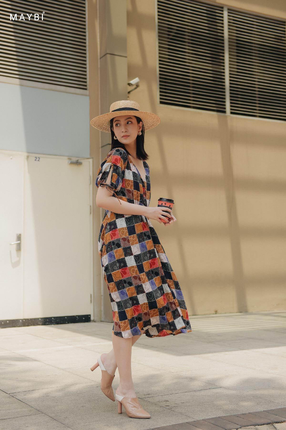 Đầm sơ mi họa tiết tay phồng Cosima Dress