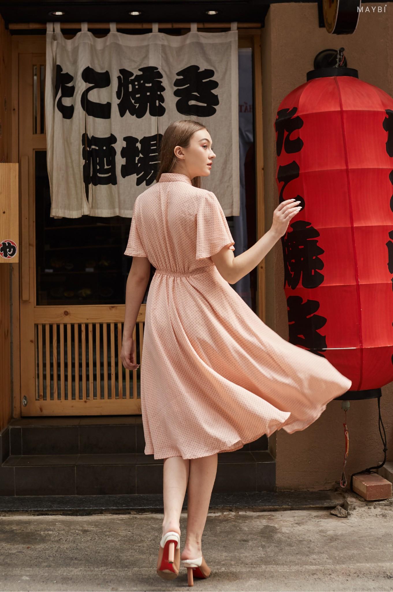 Đầm hồng sơ mi cánh tiên Maybi Blush Dress