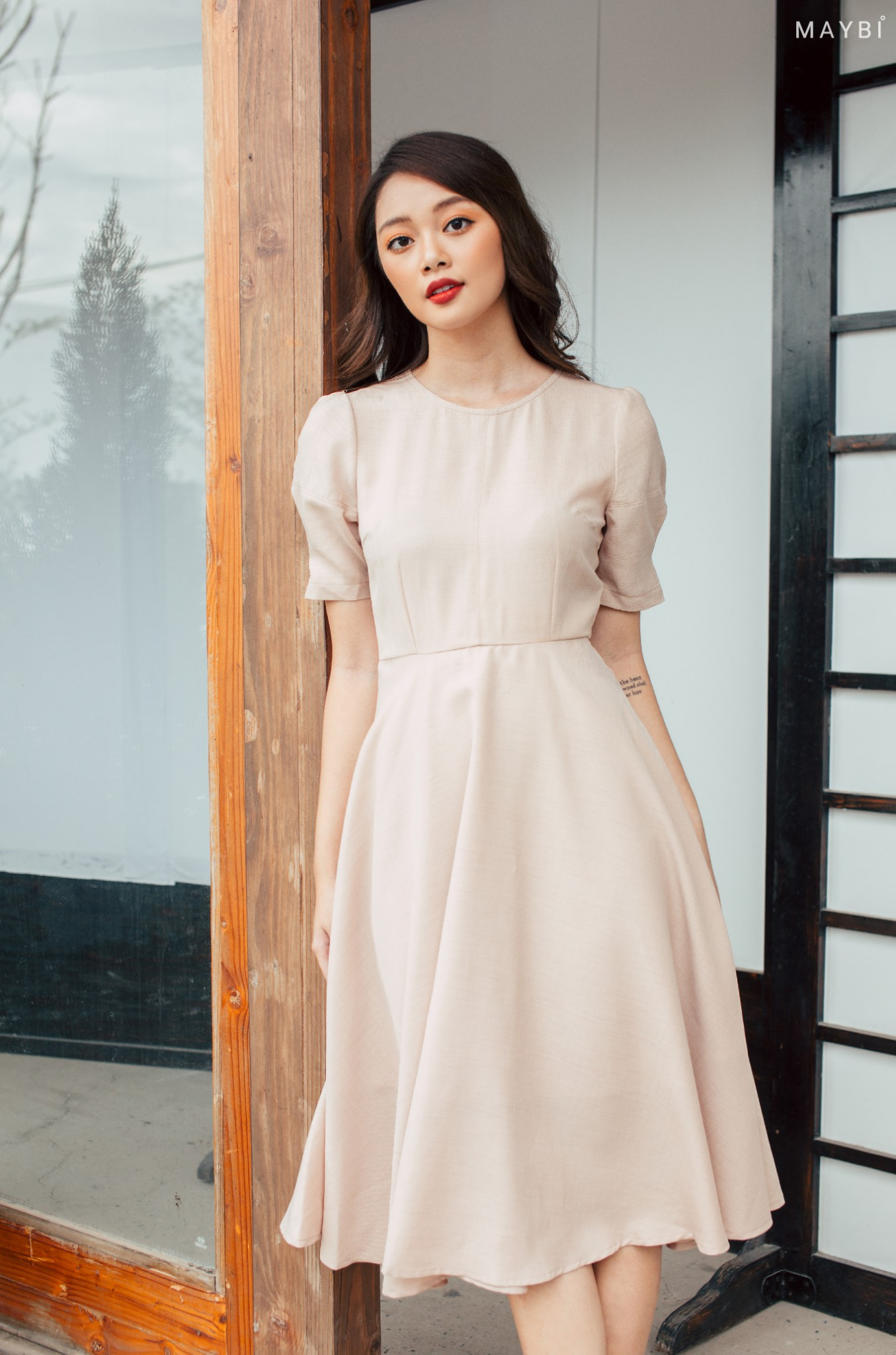 Đầm nude linen tay phồng -  Swiss Coffee Dress