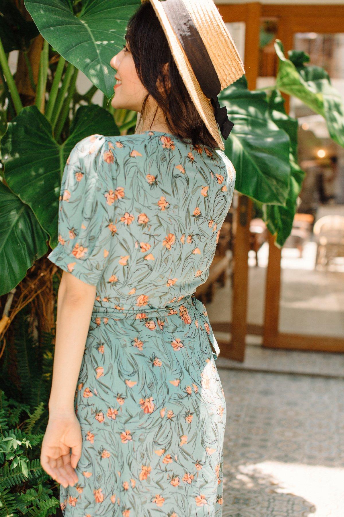 Đầm tay phồng chắp tà hoa cam Orange Floral Dress