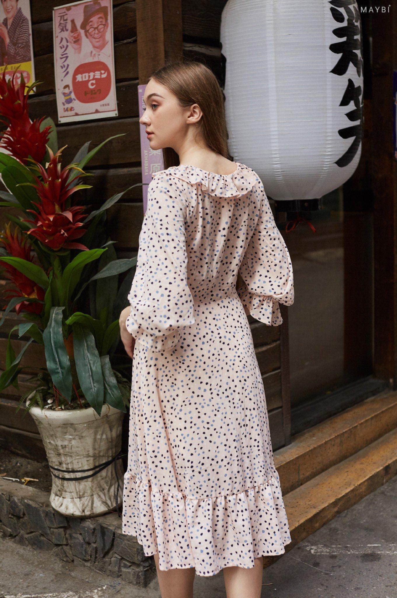 Đầm hồng họa tiết cổ bèo - Paisley Dress