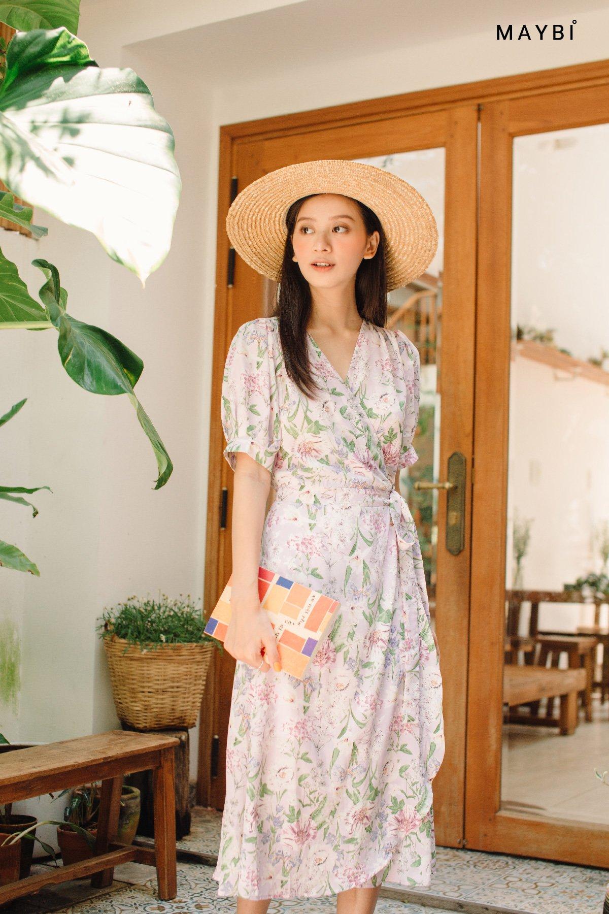 Đầm tay phồng chắp tà hoa tím Violet Floral Dress
