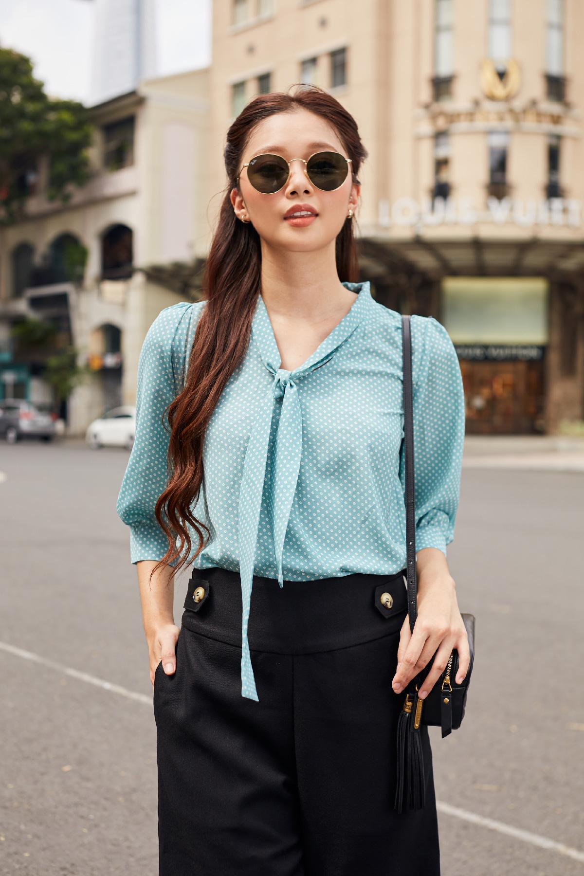 Áo kiểu sơ mi họa tiết hạt café Coffee Bean Partern Shirt
